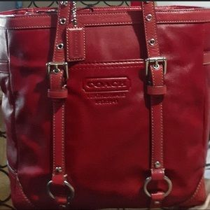 Coach F11524 Gallery Red Leather Lunch Tote Bag